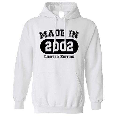18th Birthday Hoodie Made in 2002 Limited Edition Hooded - (White/Small)
