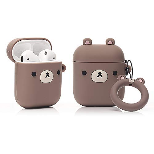 LEWOTE Airpods Silicone Funny Case Cover Compatible for Apple Airpods 1&2[Cute Animal Design][Best Gift for Girls Boys Man or Woman] (Small Brown Bear)