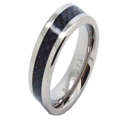 Blue Chip Unlimited Ultra Slim 7mm Titanium Ring with Black Carbon Fiber Inlay Wedding Band Size 7