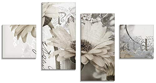 Artland Glasbilder Wandbild Glas Bild 4 teilig 120x70 cm Querformat Blumen Blüten Gerberas Schriftzug Shabby Chic T4RU