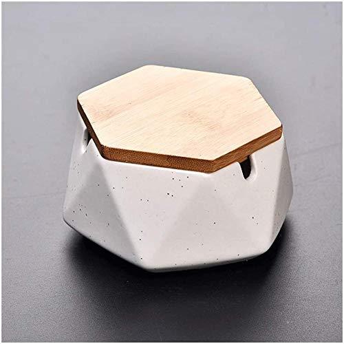 Cenicero de cerámica con o sin tapa, cenicero geométrico sólido en la oficina y el hogar, cenicero portátil para fumar, con tapa