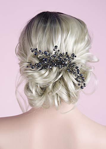 BERYUAN Peine de pelo negro elegante para mujer, ónix negro, gran peineta...