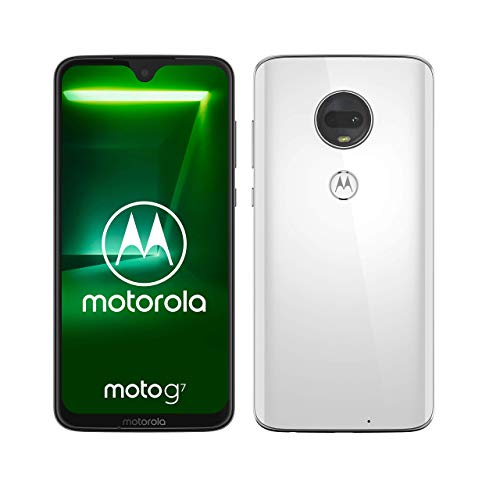 "Motorola Moto G7, Smartphone Android 9.0, Display 6,2"", Dual Camera da 12Mp, 4/64 GB, Dual Sim, Bianco (Clear White) [versione Italia]"