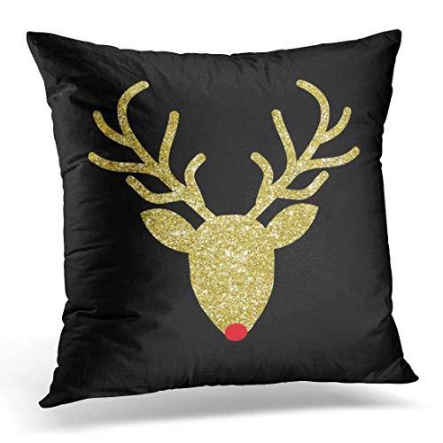 Klotr Housses De Coussin, Throw Pillow Cover Foil Rudolph Gold Christmas Poufs Decorative Pillow Case Home Decor Square Pillowcase