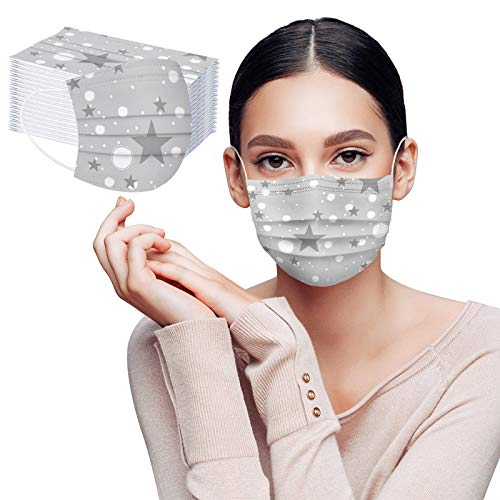Modaworld 10-100Pcs Star Printed Disposable_Face_Cover for Adult,3-ply with Elastic Earloop for Outdoor,Breathable Face Covering