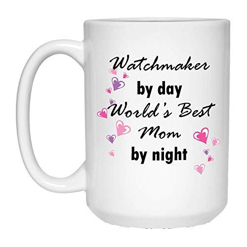 N\A Taza de relojero de día La Mejor mamá de Noche del Mundo - Taza de café con Leche