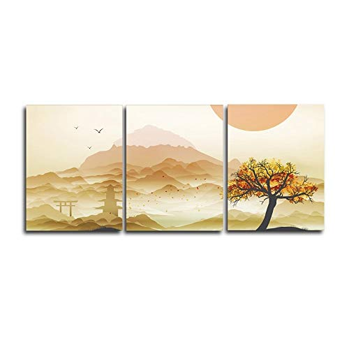 N / A Canvas 3 Panels Garden Painting Home Decor Posters and Prints Wall Pictures Living Room Bedroom Frameless 40cmx50cm