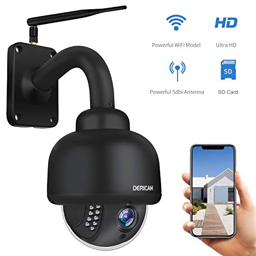 Dericam PTZ WiFi IP Security Camera,1080P Surveillance CCTV Outdoor Camera, Pan/Tilt/Zoom, 4X Optical Zoom, Night Vision, Motion Detection,...