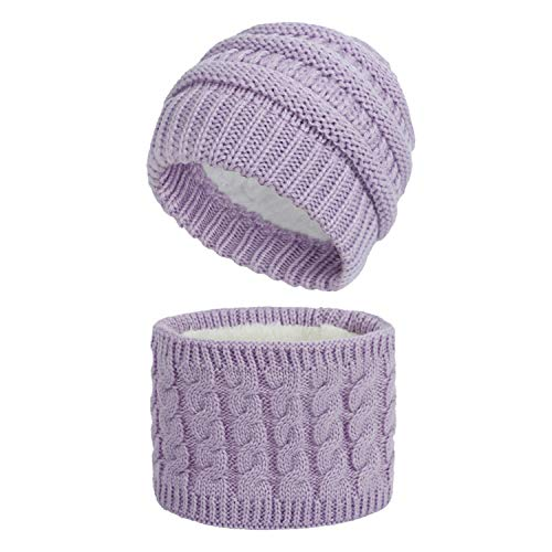 Sombrero Bufanda Invierno Cálido Beanie Gorro Tejido Calentador de Cuello para Niños Niñas Punto Pañuelos para el Cuello Unisex para Infantile 0-3 años