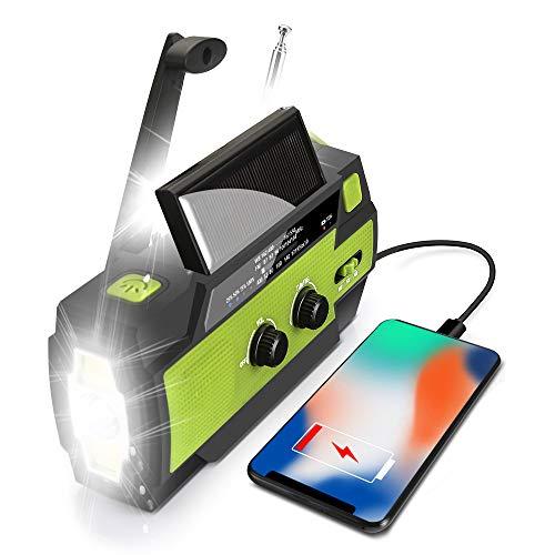 Emergency Radio, Solar Hand Crank Radio Portable AM/FM/NOAA Weather Radio 4000mAh with Flashlight Motion Sensor Reading Lamp,Cell Phone Charger, SOS Alarm for Home/Outdoor
