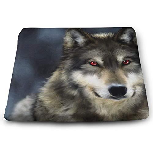 Memory Foam Pad zitkussen. Autostoel kussens om hoogte te verhogen - bureaustoel Comfort kussen - grijze wolf rode ogen