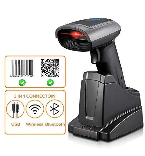 Barcodescanner MUNBYN 1D/2D Bluetooth Barcode Scanner Barcodeleser Für Android/IOS/Windows XP/7/8/iPhone/Galaxy/iPad, 32 Bit Decoder, Mit Ladestation Barcode-Scanner [Update 2.0]