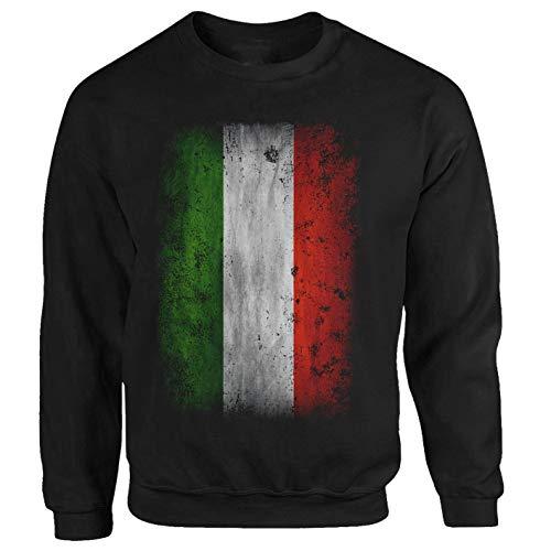 Tex-Ha Italien Fahne Flag Rom Mailand Calcio schwarz Pullover Sweatshirt (XL)