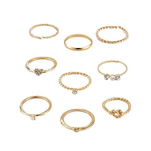 Holibanna Conjunto de anéis de onda de montanha conjunto de joias para presente midi, anel articulado, conjunto de anéis empilháveis para presentes femininos (dourado)