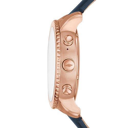 FOSSIL Montre connectée Explorist / Smartwatch étanche en cuir bleu marine - Compatibilité iOS &...