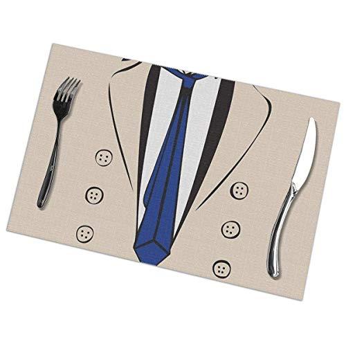 Castiel Trenchcoat Tee Rechteckiger Tisch Tischsets Set mit 6 Tischsets, gute Stimmung Rutschfeste, hitzebeständige, schmutzabweisende Küchenmatten für den Esstisch Leicht zu reinigen 18 x 12 Zoll
