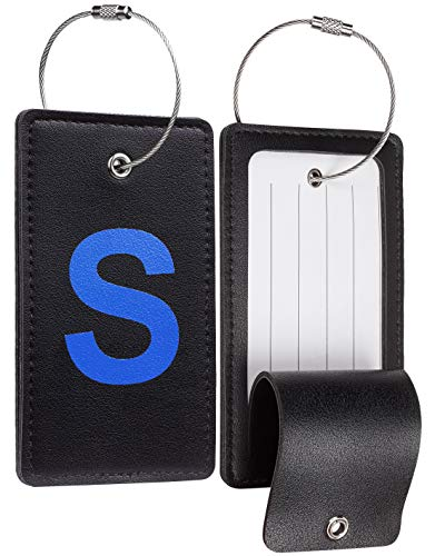 Travelambo Initial Luggage Tag Baggage Bag Tags Travel Fully Bendable Tag Stainless Steel Loop 2 pcs Set (S)