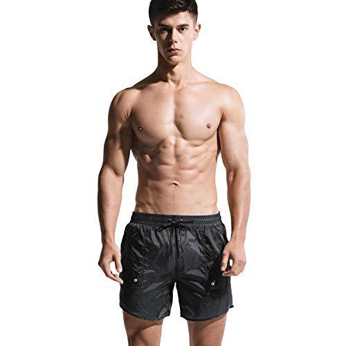 Lantra Besa Herren Badehose Badeshorts Sport Shorts für Sommer Schwimmen Joggen Kurz Schnelltrocknend Einfarbig MEHRWEG (Typ 22) - Dunkelgrau, Asiatische Größe XL, Bundumfang 83-90cm