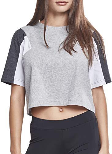 Urban Classics Damen T-Shirt Ladies 3-Tone Short Oversize Tee gry/cha/wht L
