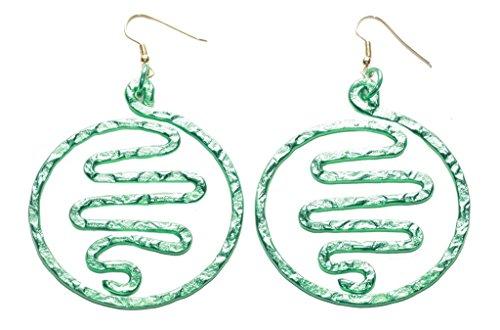 Magnífico verde eléctrico Maze Swirl Centro/Fácil de gancho en pendientes de aro de metal (zx146)