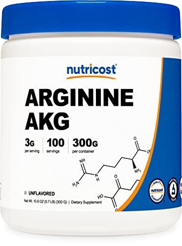 arginine powders Nutricost Arginine AKG Powder 300 Grams (AAKG) - 3G Per Serving & 100 Servings - Pure Arginine Alpha Ketoglutarate