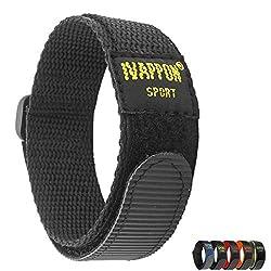 powerful IVAPPON Sports Watch Strap 18mm 20mm Nylon Bracelet with Hook Black Blue Bracelet with Buckle (20mm,…