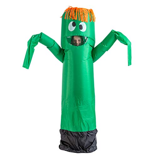 Spooktacular Creations Inflatable Costume Tube Dancer Wacky Waiving Arm Flailing Halloween Costume Adult Size (Green)