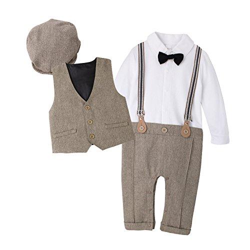 DecStore Baby Junge Fliege Krawatte Fliege Krawatte Strampler Smoking Taufe Hochzeit Bekleidungssets mit Hut braun 80