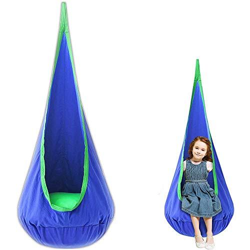 \t Columpio para Bebés Hamaca para niños Asiento Mecedora Soporta hasta 80kg Silla con Ganchos y Cuerdas para Habitación y Exterior Blue