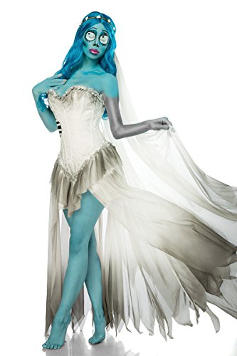 Damen Geister Braut Kostüm Leiche Verkleidung aus Kleid, Schleier, Perücke in weiß blau Coragen Kleid M