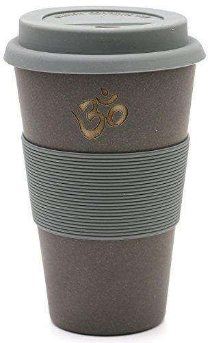 freakulized ॐ OM Kaffeebecher Schiefer im Yoga & Boho Travel Mug Style - nachhaltiger Meditation Coffee2go Becher Tee - ökologisch mit Bambus hergestellt Schiefer