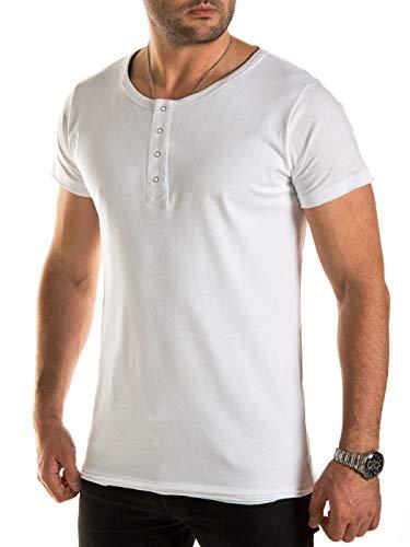 WOTEGA Herren T Shirts in 2-in-1 Optik - Weißes Sommer Tshirts Männer Weiss Shirt Rundhals V-Neck Ausschnitt, Weiß (Cloud Dancer 114201), M