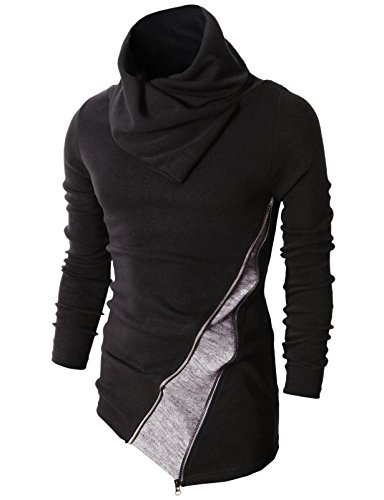 H2H Mens Fashion Turtleneck Slim Fit Pullover Sweater Oblique Line Bottom Edge Black US L/Asia XL (KMTTL045)
