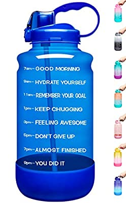 Elvira Large 1 Gallon/128 oz Motivational Time Marker Water Bottle with Straw & Protective Silicone Boot, BPA Free Anti-slip Leakproof for Fitness, Gym and Outdoor Sports-Light Blue