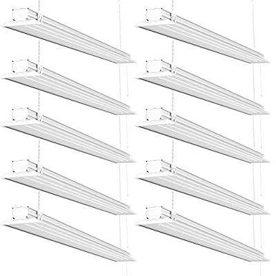 Sunco Lighting - ENERGY STAR 4ft 40W LED Utility Shop Light FLAT DESIGN 4500lm 300W Equivalent, LED Fixture, Ceiling Light, Garage/Basement/Workshop, Linkable, ETL, Clear