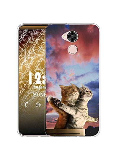 Sunrive Funda para Huawei GX8/G8, Silicona Slim Fit Gel Transparente Carcasa Case Bumper de Impactos y Anti-Arañazos Espalda Cover(TPU Gato 5)