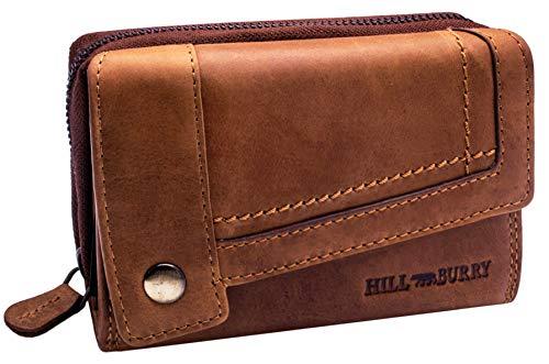 Hill Burry Cartera de Cuero para Mujer | Billetera - Monedero de Cuero Genuino con Aspecto Vintage | Mujeres - Hombre | XXL Compacto Grande Capacidad (marrón)