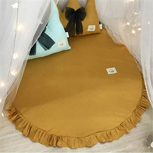 Baumwolle Krabbeldecke Kinder Baby Spielmatte Runde Teppich Kriechmatte Spielzelte Dekoration fürs Kinderzimmer (Ingwer gelb)