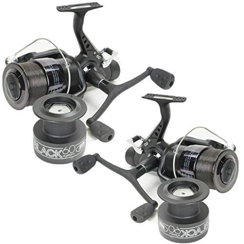 2 x LINEAFFE ALL BLACK 60 FISHING REEL CARP COARSE FREE SPOOL 3 BALL BEARING