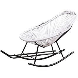 Chaise Longue Pliant de Jardin, Fauteuil inclinable en rotin de rotin à bascule de jardin meubles de jardin avec repose…