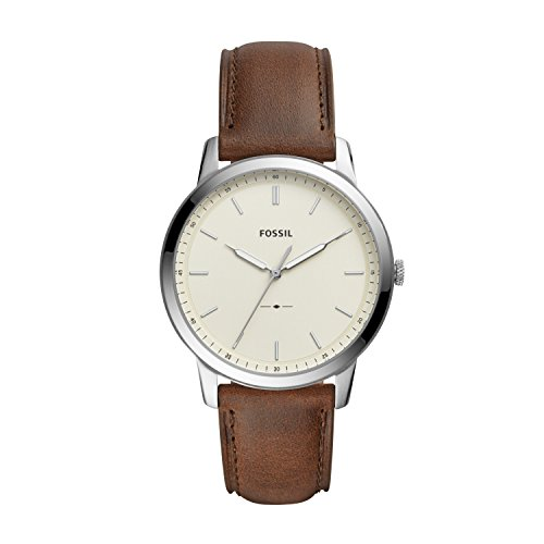Fossil Men's The Minimalist Quartz Stainless Steel and Leather Three-Hand Watch, Color: Silver, Brown (Model: FS5439)
