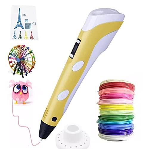 Bolígrafo 3D - Pluma de Impresión con Pantalla LCD para Ajustar Parámetros Sencillamente y Carga USB - Compatible con Filamento PLA y ABS - Temperatura y Velocidad Ajustable (Amarillo)