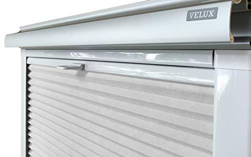 Home-Vision® Dachfenster Premium Doppelplissee Wabenplissee ohne Bohren Velux-kompatibel (Weiß-Grau für SK08 - Weiß) Zweifarbig Blickdicht Sonnenschutz, Alle Montage-Teile inklusive