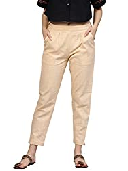 aipur Kurti Womens Beige Solid Cotton Slub Pants
