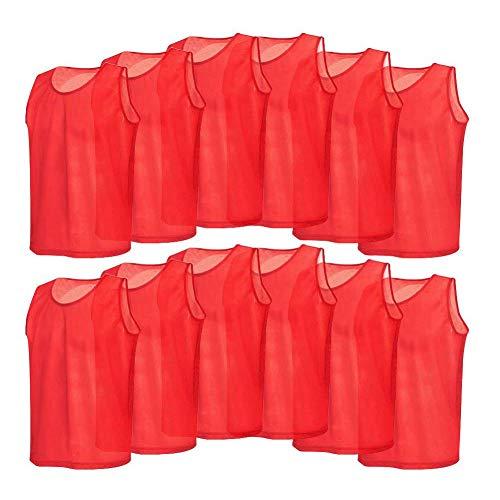 Trainingswesten aus Netzstoff, atmungsaktiv, für Erwachsene, für Volleyball, Fußball, Basketball, Rot, 12 Stück