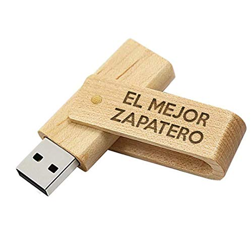 Memoria USB el Mejor Zapatero del Mundo - Pendrive 16GB Madera Natural...