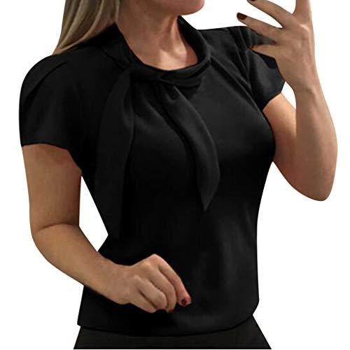 Andouy Damen Hemd Krawatte Bogen Hals Elegante Kurzarm Solide Bluse Gr.36-44 Tägliches Office-Top(M(38),Schwarz)