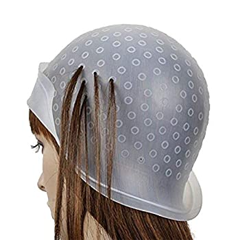 Haifly Reusable Silicone Hair Staining Cap Multicolor Hair Dyeing Cap with Metal Hooks