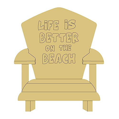 """Beach Chair Design by Lines Cutout Unfinished Wood Summer Decor Beach Party Theme Door Hanger MDF Shape Canvas Style 2 Art 1 (6"""")"""