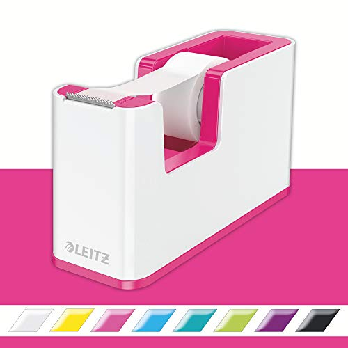 Leitz, 53641023, plakband-tafelloper, vaste stand, incl. lijmrollen, wit/metallic roze, WOW, 53641023